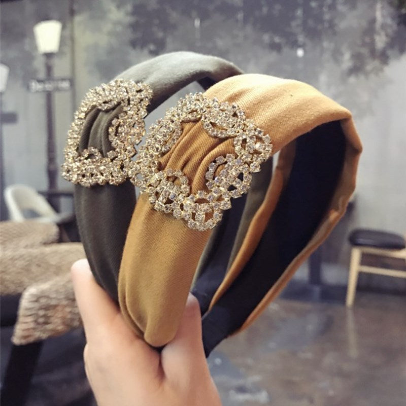 Crystal diamond solid color fabric wide-brimmed headband