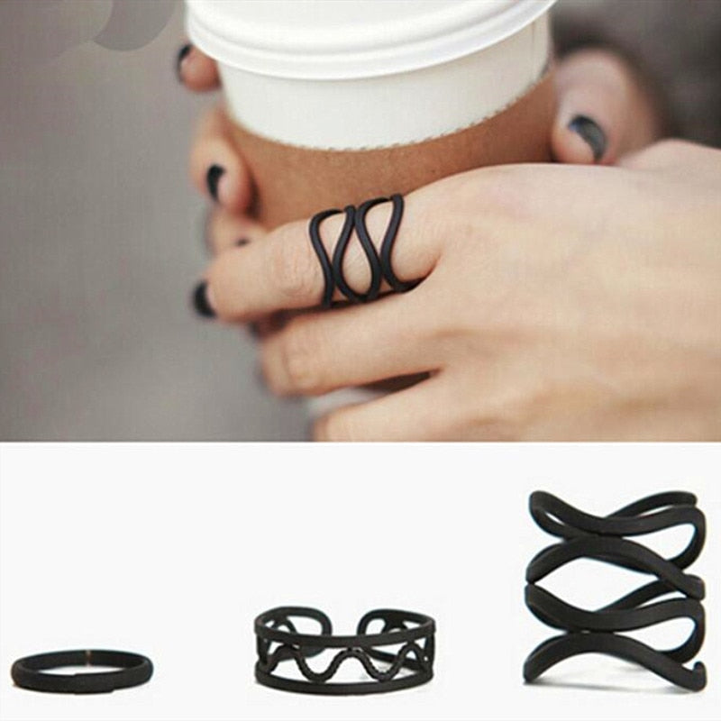 3pcs Simple Frosted Black Geometry Wave Finger Rings Set
