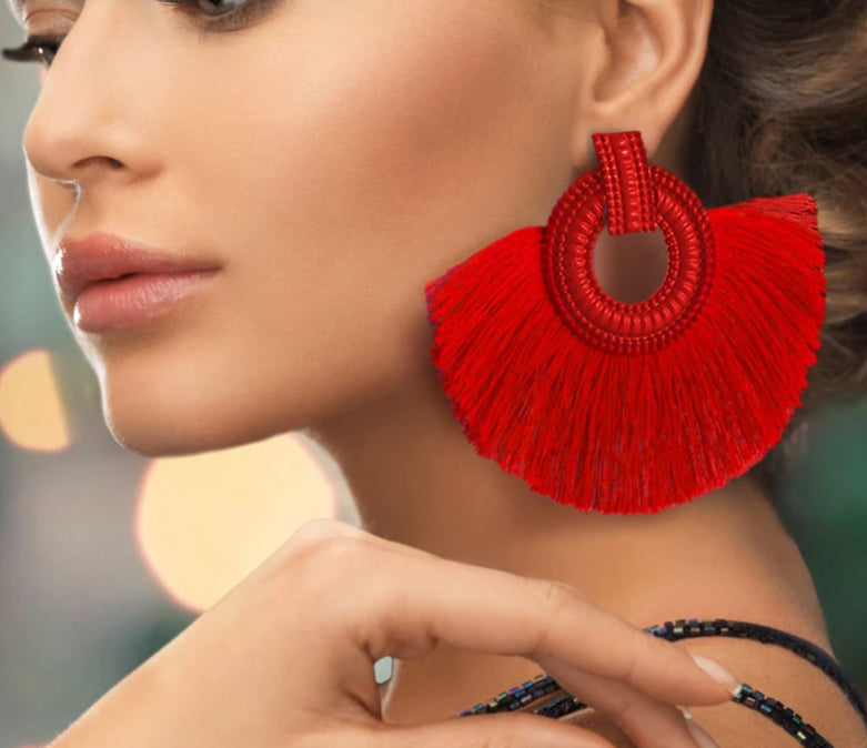 Big Cotton Tassel Earrings