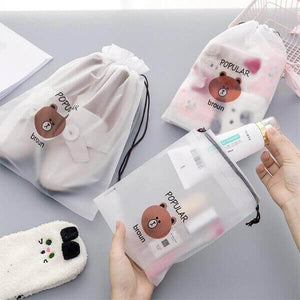 ONLY $2.99-Brown Bear Transparent Travel Cosmetic Bag