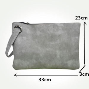 Women Leather Envelope Clutch Handbag