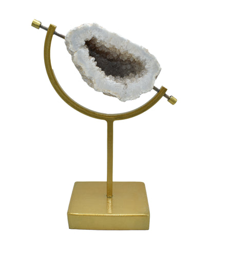 Natural Agate in Gold Caliper Stand
