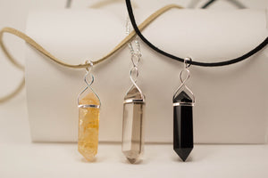 Rose Quartz-Quartz-Gold Trim-Black Obsidian-Amethyst