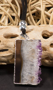 Necklace-leather-Amethyst