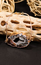 Load image into Gallery viewer, Agate Geode Bracelet with Gold or Silver Trim