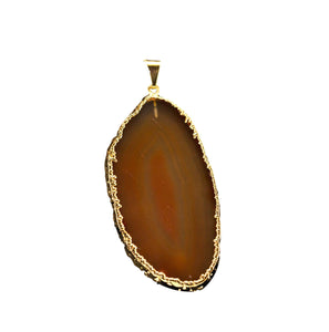 Brown-Pendants-Gold Trim-Agate Slice