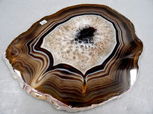 "Load image into Gallery viewer, 1/4"" Thick Agate Serving Plate with Silver Trim"
