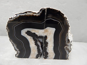 Agate Bookend with Silver Electroplating