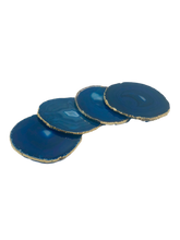 Load image into Gallery viewer, Agate Coasters Set of 4 with Gold Trim