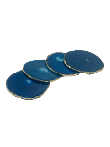 Agate Coasters Set of 4 with Gold Trim