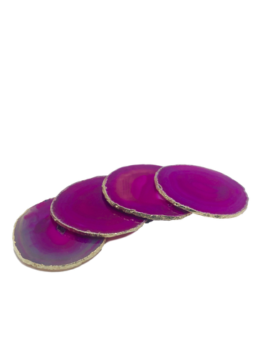 Agate-Coasters- Gold Trim