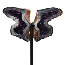 Load image into Gallery viewer, Amethyst Butterfly Copper Electroplated on Metal Stand