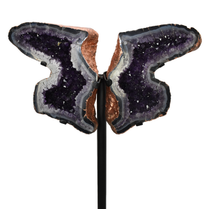 Amethyst Butterfly Copper Electroplated on Metal Stand