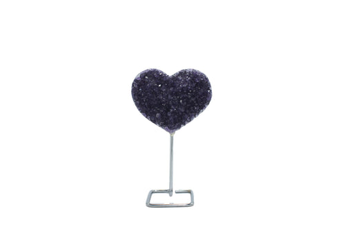 Amethyst Heart on Silver Wire