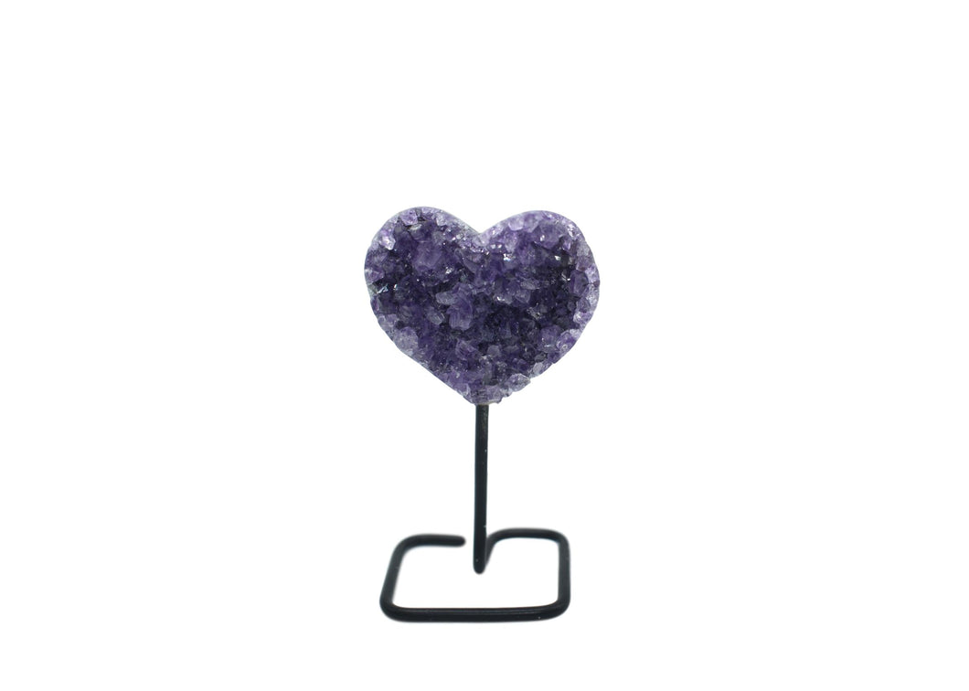 Amethyst Heart on Black Wire
