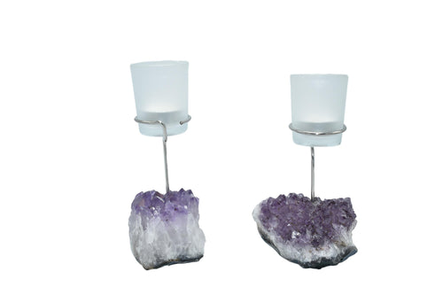 Amethyst Silver Wire Candle Holder