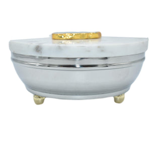 Steel-Marble Lid-Gold Trim
