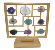 Load image into Gallery viewer, Table Stand-Gold Trim-Agate
