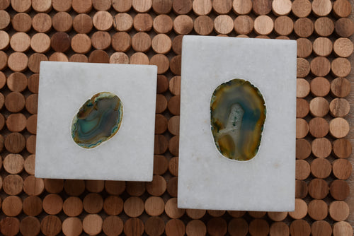Marble Box with Agate Engraved