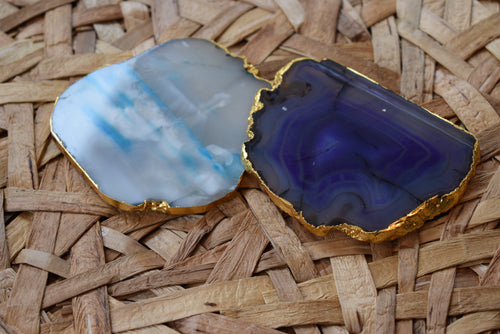 Gnarled Agate Coasters with Gold Trim