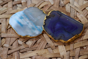 Teal-Wooden-Water Stains-Coasters-Agate