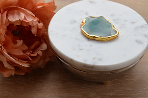 Marble Lid-Gold Trim-Box-Agate