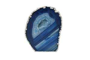 Agate Geode with Silver Electroplating