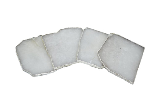 Cloudy Quartz Square Coasters with Silver Trim, Set of 4