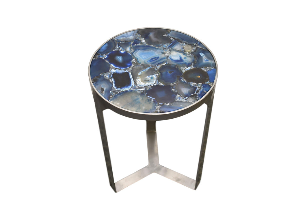 Silver Base-Silver-Agate-accent table