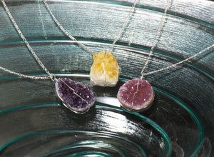 Druse Crystal Pendant on Silver Chain