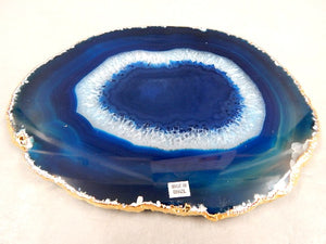 "1/4"" Thick Agate Serving Plate with Gold Trim"