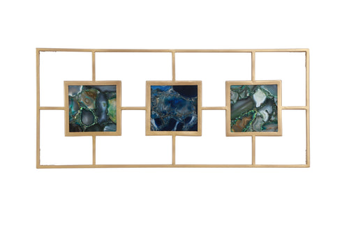 Multi Agate with Gold Frame Wall Décor