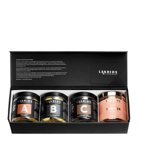4 Jars of Choc Coated Liquorice + Gift Box – SUMMER Edition