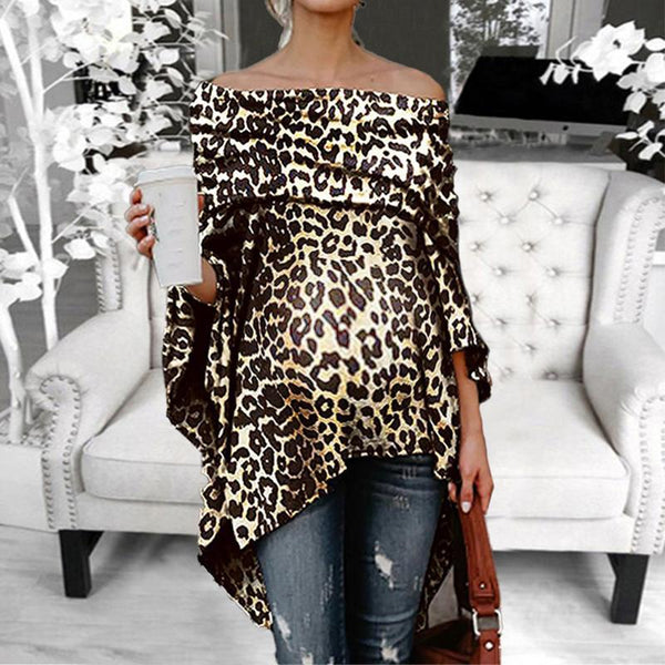 Maternity One-Neck Collar Off-Shoulder Sexy Loose Leopard T-Shirt