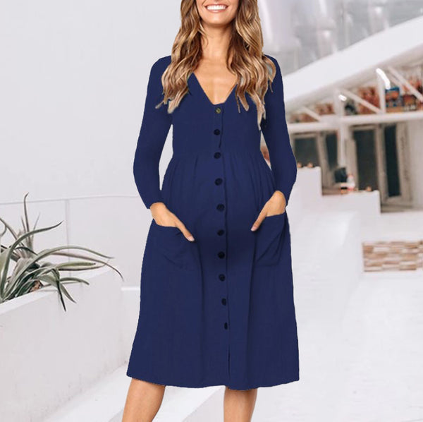 Maternity Fashion Deep V-Neck Long Sleeve Plain Dress
