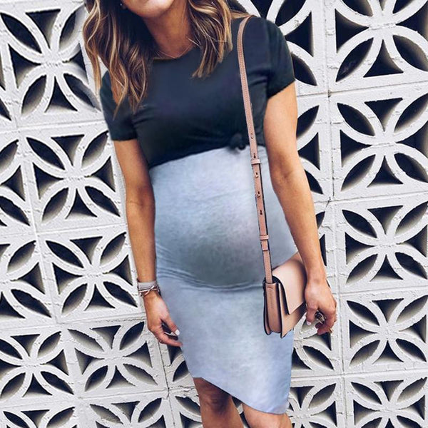Maternity Color Block Double-Layer Dress
