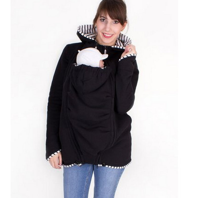 Multi-Functional Striped Stitching Kangaroo Hoodie