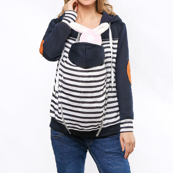 Stripe Removable Multifunctional Kangaroo Hoodie For Mom