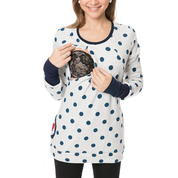Multifunctional Lactation Wave Point Circular Collar Maternity Hoodie