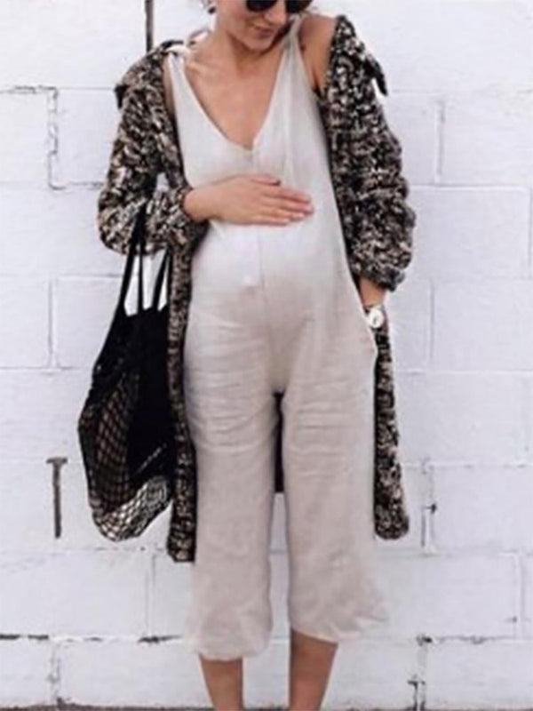 Maternity Casual V Neck Pure Colour Sleeveless Jumpsuit
