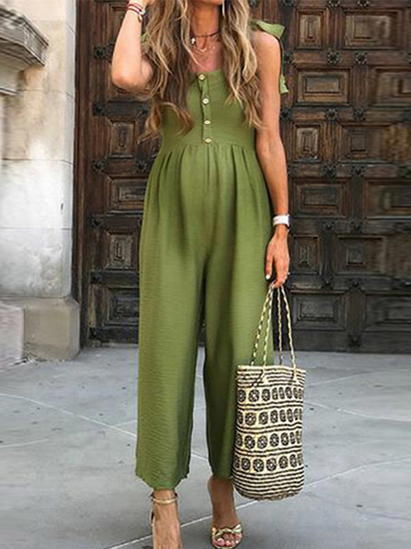 Maternity Sexy Short-Sleeved V-Neck Button Jumpsuits