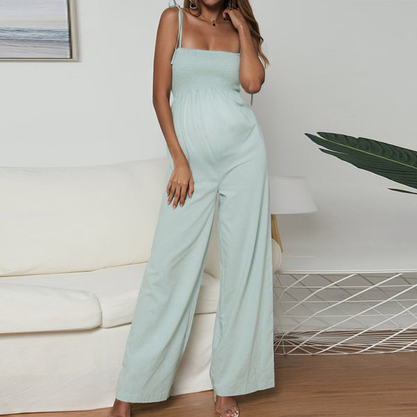 Maternity Pure-Color Cotton And Linen Open-And-Shoulder Jumpers