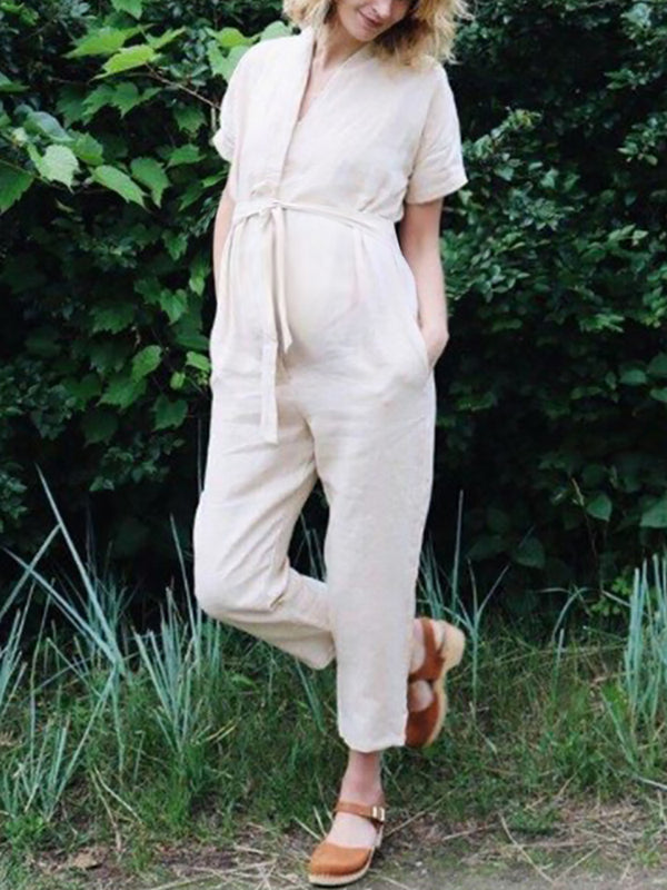 Maternity Casual Pure Color Frenulum Jumpsuits