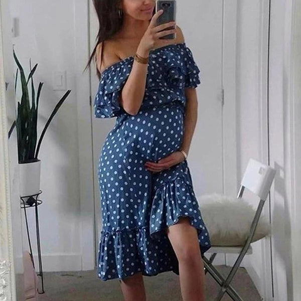 Maternity Sexy Boat Neck Polka Dot Dress