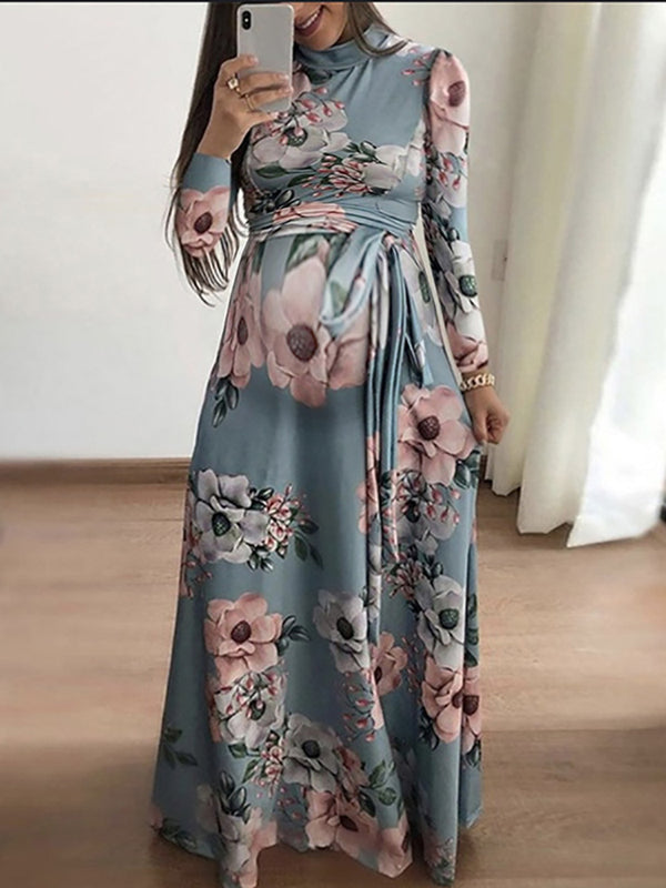 Maternity Casual Floral Printed Frenulum Dress