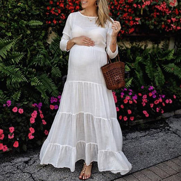 Maternity Casual Round Neck Bracelet Sleeve Pure Colour Dress