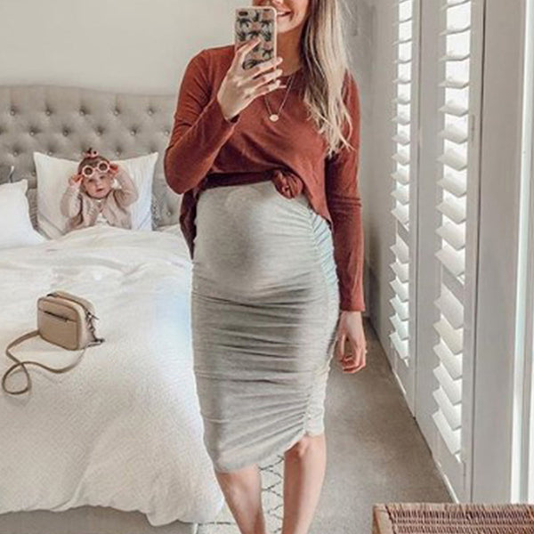 Maternity Round Neck Long Sleeve Contrast Color Dress