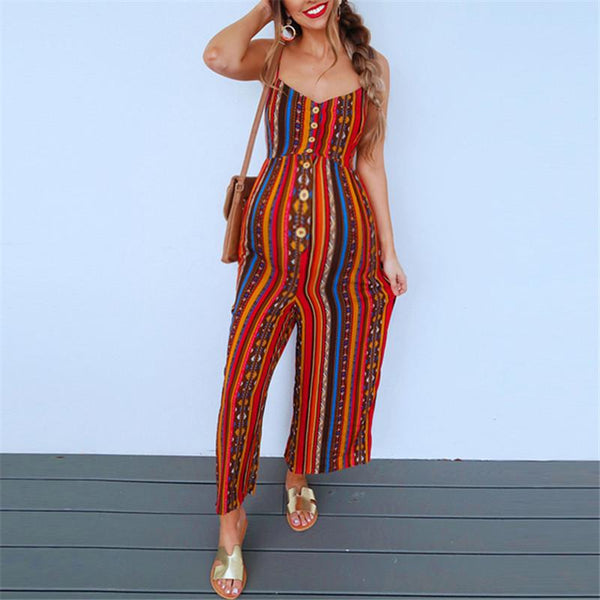 Maternity Sexy Sling Print Jumpsuit