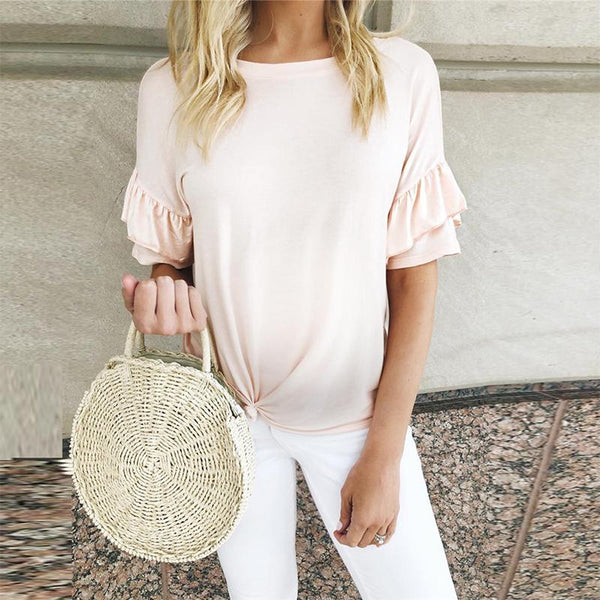 Maternity Ruffled Short-Sleeved Knotted T-Shirt