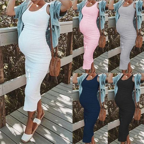 Maternity Solid Color Round Neck Sleeveless Dress
